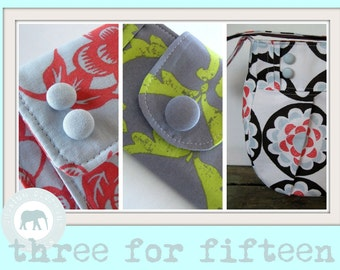 3 for 15 Dollars PDF Sewing Pattern Package - Purse Wallet Handbag Billfold
