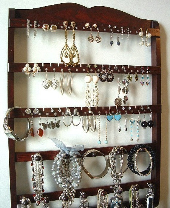 Jewelry Organizer, Earring Display, Boutique Quality & Design, 20 Peg Jewelry Holder, 54-108 Pairs, Dark Mahogany, Oak, Wood, SHIPS 8/30