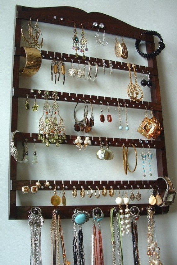 ELEGANT Earring Jewelry Holder and Necklace Bracelet Organizer / DARK MAHOGANY / 90-180 Pair / 7 Pegs / Boutique Quality & Design -  9/7