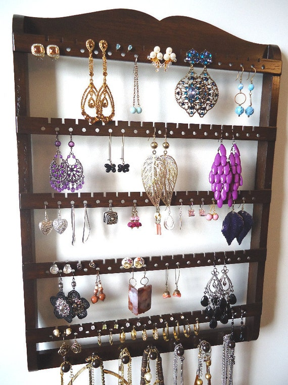 hanging wooden jewelry rack