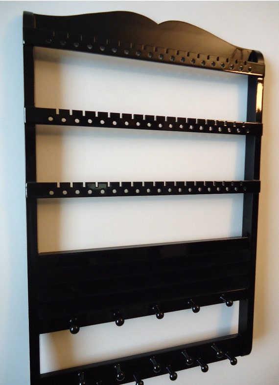 Jewelry Holder, Ring Holder - Necklace, Bracelets, Earrings, Rings, Maple, Black Cabinet Grade Paint, Boutique Quality & Design, 7/20