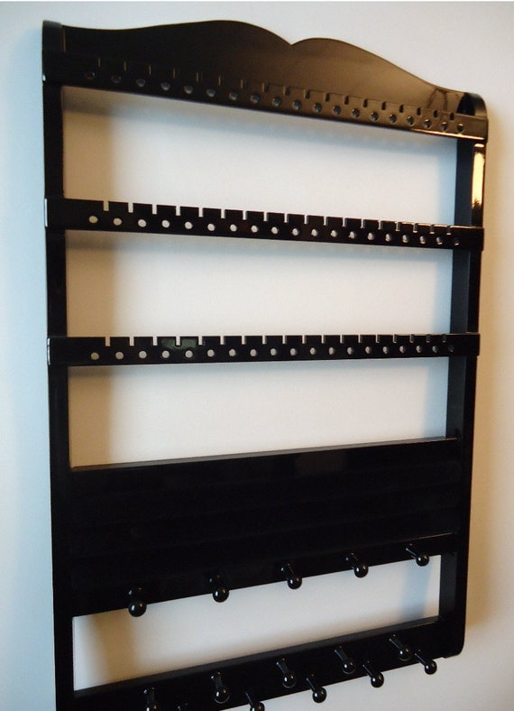 Jewelry Organizer, Ring Holder, Boutique Quality & Design, 54-108 Pairs, 20 Rings, 16 Pegs, Black Cabinet Grade Paint, Gorgeous, SHIPS 9/10