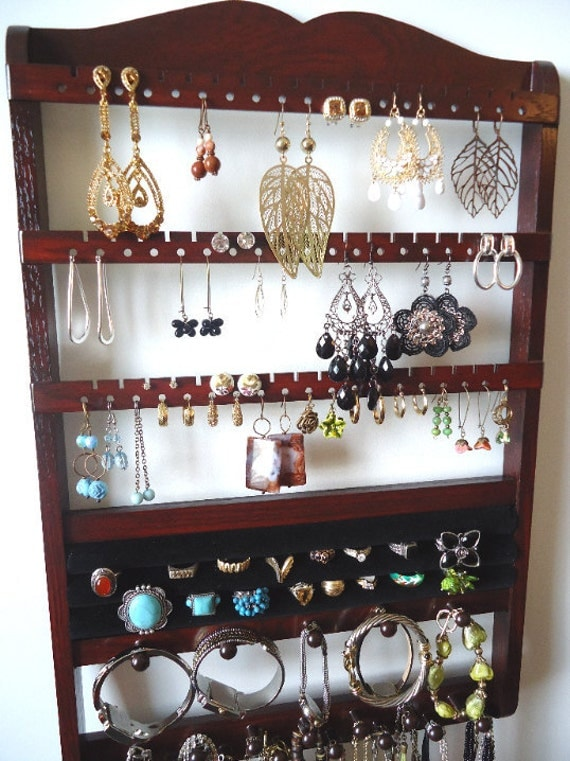 Jewelry Holder, Ring Holder, Boutique Quality & Design, 54-108 Pairs Earrings, 20 Rings,16 Jewelry Pegs, Dark Mahogany, Wood, Ready To Ship