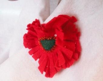 FLOWER PIN Bright Red Beaded Felt
