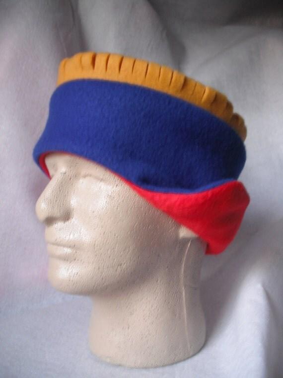 EARFLAP Hat Reversible Red to Royal Fleece (KU Jayhawks colors)