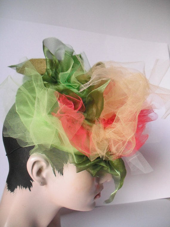 Tulle Headpiece    Milliners of Etsy Challenge inspired by a painting  Citrus colored fascinator