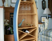 6 Ft Boat Wine Rack Glass Holder bookcase shelf canoe Hand crafted Knotty Pine bookshelf nautical furniture