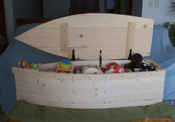 Wood Boat Toy Box Nautical Chest Hand Crafted By Poppasboats