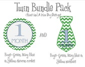 Monthly Milestone Stickers- Twin boys monthly baby stickers- baby bodysuit sticker decals- with optional Gerber ONESIE- BOY114 and BOY198