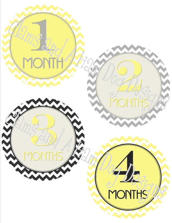 Monthly Baby Milestone Stickers- Girls or boys monthly Neutral stickers- Baby month stickers- Monthly stickers- Yellow Baby shower NEU124