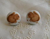 sweet squirrels- fabric covered earrings