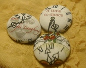 Time for Love and - fabric covered button collection  - size 60