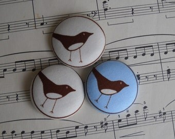 Modern Bird- fabric covered button collection- size 60