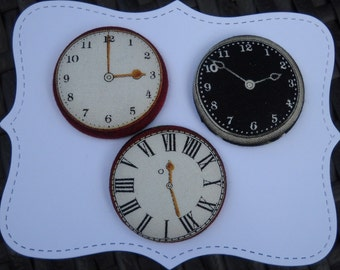 clock faces - fabric covered button collection- size 60