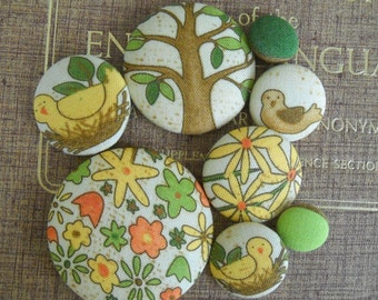 Awesome- Spring is here- Giant fabric covered button collection
