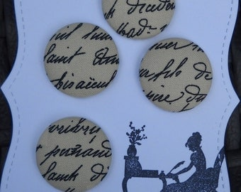 French Script- fabric covered button collection- size 45