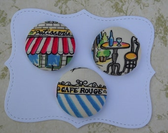 Paris shops- fabric covered button collection - size 60
