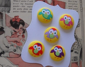 new item for 2011-  Sweet owls- fabric covered button collection- size 45