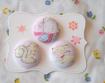 Fun in the snow- fabric covered button collection 1 - size 60