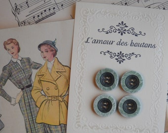 vintage two tone green buttons- set of 4