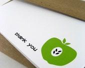 Thank You Card, Fruit Card, Greeting Card, Green Apple - single