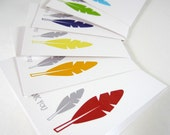 Feather Thank You Cards, Mini Greeting Cards, Gift Tags, Stationery Set - set of 12