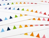 Rainbow Note Cards, Bunting Cards, Flat Note Cards, Stationery Set, Triangle, Geometric, Banner - (set of 8)