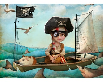 "5x7 Art Print - ""Diego"" - Little Pirate Boy - Small Fine Art Giclee Print by Artist Jessica Grundy"
