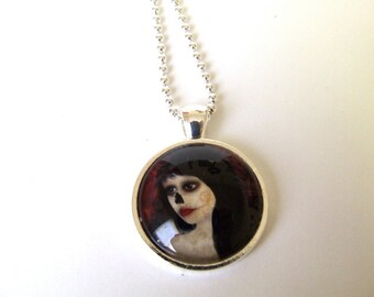 "Art Necklace ""Dia De Los Muertos"" Day of the Dead Girl Print of Original Artwork Set Under Glass 1"" Round Pendant and Chain"