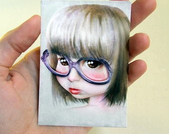 """ACEO/ATC Mini Fine Art Print """"Imperfect - Portrait of the Artist as a Child"""" Artist Trading Card 2.5x3.5 - Little Girl Huge Glasses"""