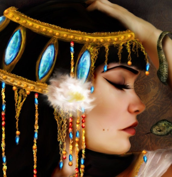 """5x7 Premium Art Print """"Cleopatra and the Serpent"""" Small Size Giclee Print of Original Artwork of The Death of Egyptian Queen Cleopatra"""