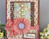 Pink and Pearls Handmade Birthday Card