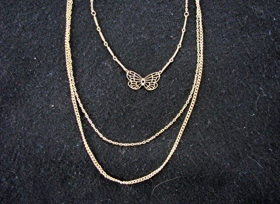 Vintage Three-Strand Gold Chain & Butterfly Necklace