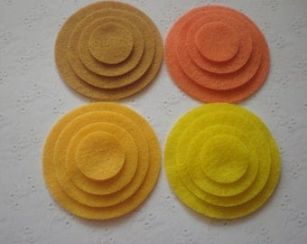 48 Felt Die Cut Circle Pieces (Style C5) Goldenrod, Gold, Orange, Yellow