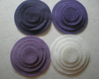 48 Felt Die Cut Circle Pieces (Style C6) Purple, Orchaid, Violet Sky, White