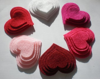 48 Felt Die Cut Heart Pieces (Style H9) White, Red,Baby Pink,Ruby,Shockinh Pink,Fushcia