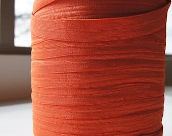 "5/8"" Inch Fold Over Elastic - 5 Yards of Burnt Orange FOE"