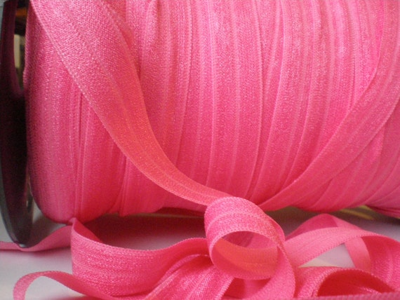 5/8 inch Fold Over Elastic for Baby Headbands - 5 Yards of Bubble Gum Pink foe