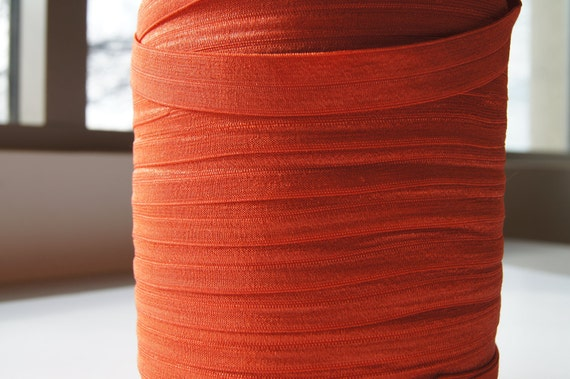 "5/8"" Inch Fold Over Elastic - 5 Yards of Burnt Orange FOE"
