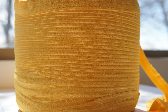 "5/8"" Inch Fold Over Elastic -- 5 Yards of Gold FOE"