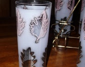 SALE -- Frosted Glasses in Metal Caddy Vintage Glasses with Pink Leaves