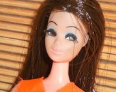 Vintage Dawn Doll by Topper 1970 Beautiful Hair Lashes and Face Retro Jumpsuit
