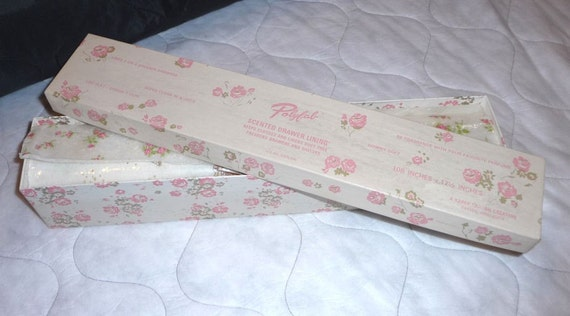 Pink Flower and Seashell Drawer Liners and Box ON SALE