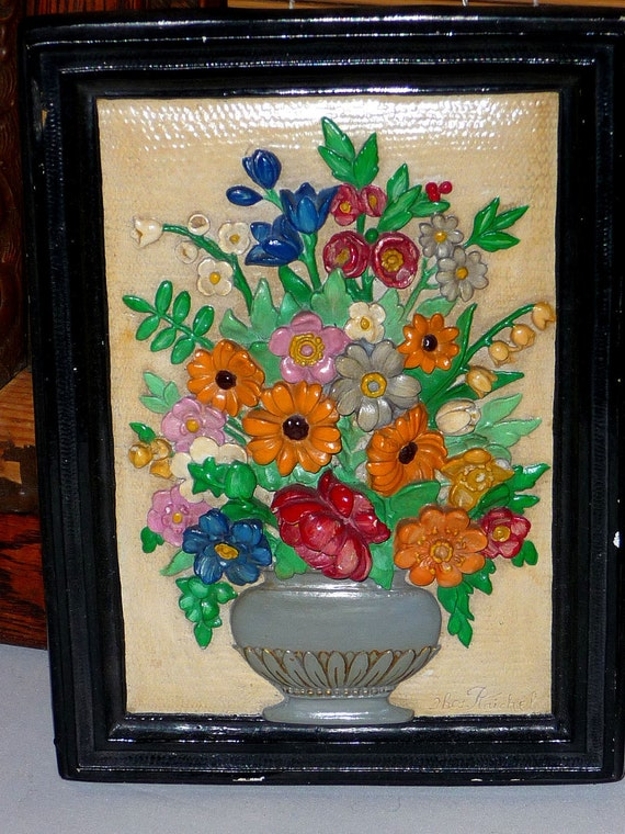 1970's Ceramic Flower Wall Hanging - 3 Dimensional 8 X 6