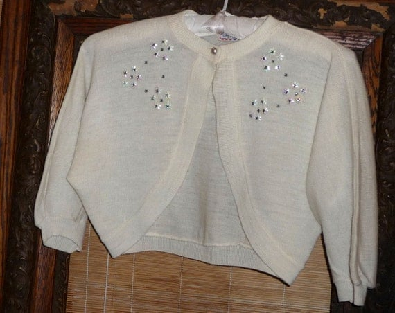 Reserved for doniellebella - Gorgeous Cream Vintage Cropped Sweater Wedding Bride Bridal Sweater