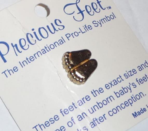 1970s Precious Feet Pro-life Symbol Little Bear Foot Pin Baby Feet