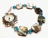 Beaded Watch - Shell and Blue Crystal