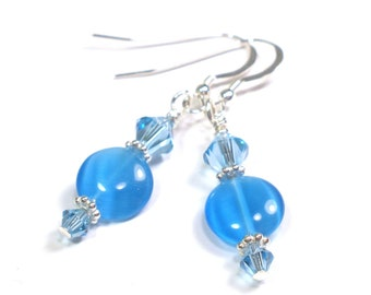 Earrings - Aqua Blue Crystal and Sterling Silver