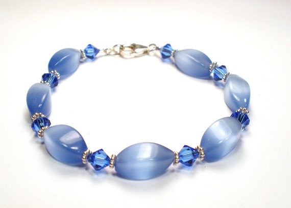 Bracelet - Periwinkle Blue Cats Eye and Crystal