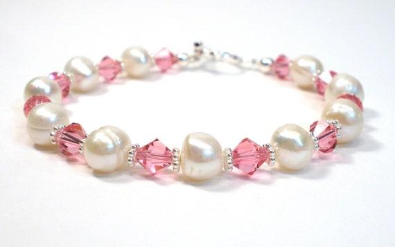 October Birthstone Bracelet - Freshwater Pearl and Rose Pink Crystal Sterling Silver